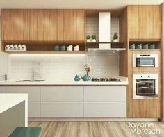 Adorei o detalhe do revestimento de tijolinhos na rodabanca. E a madeira clara e o branco ficou dez. New Kitchen Interior, Kitchen Room Design, Kitchen Cabinet Design, Modern Kitchen Design, Home Decor Kitchen, Home Kitchens, Modern Kitchen Cabinets, Narrow Kitchen, Kitchen Styling