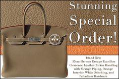 Brand New 35cm Hermès Etoupe Taurillon Clemence Leather Birkin Handbag with Orange Piping, Orange Interior, White Stitching and Palladium Hardware - Stunning Special Order!