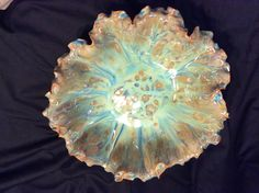 Pottery by Susan Garrett Coyote Gun Metal with Mayco Blue Azure on top cone 6