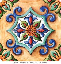 Items similar to Ornamental Vinyl Tiles Stickers Kitchen Bathroom DIY Sticker Tile on Etsy Design Art Nouveau, Jugendstil Design, Diy Stickers, Mexican Art, Ceramic Painting, Tile Art, Vinyl Tiles, Illustration, Hand Painted
