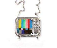 Retro TV rétractable en plastique collier (transparence)