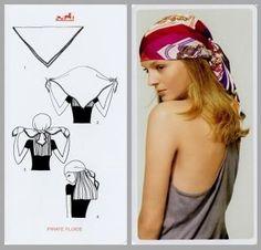 Pretty Portobello: 24 ways to tie a scarf - Hermes knotting cards Ways To Tie Scarves, Silk Scarves, Hair Scarf Styles, Head Scarf Tying, Scarf Knots, Boho Fashion, Fashion Tips, Fashion Scarves, 1950s Fashion