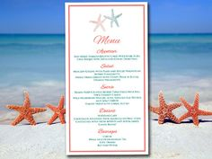 """Beach Wedding Menu Template - Coral Reef Jade Menu Instant Download - Printable Menu Entree Card """"Lazy Starfish"""" Menu Card Template by PaintTheDayDesigns on Etsy"""