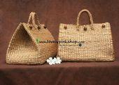 กระเป๋าผักตบ / กระเป๋าผักตบชวา / กระเป๋าสาน ขายส่ง จำหน่ายทั้งปลีกและส่ง // water hyacinth bag// กระเป๋า decoupage [Engine by iGetWeb.com] Straw Bag, Burlap, Reusable Tote Bags, Basket, Hessian Fabric, Hamper, Jute