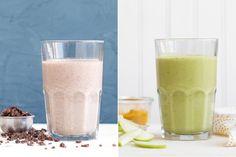 Sun Basket: Two breakfasts: Chocolate-almond smoothie & Green apple-turmeric tonic