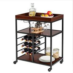 Buy Giantex 3-Tier Kitchen Island Cart Rolling Trolley Industrial Style Serving Cart Utility Cart Wood Kitchen Stand  Glasses Holder  9 Wine Bottles Rack Metal Frame  Castors (Rustic Brown) online - Newtoprated#3tier #bottles #brown #buy #cart #castors #frame #giantex #glasses #holder #industrial #island #kitchen #metal #newtoprated #online #rack #rolling #rustic #serving #stand #style #trolley #utility #wine #wood Kitchen Trolley Cart, Kitchen Island Cart, Rustic Kitchen Island, Kitchen Islands, Kitchen Wood, Bar Carts, Wine Bottle Rack, Wine Glass Rack, Wine Rack