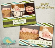 Baby Announcement Templates  Baby Boy by SugarfliesDesigns on Etsy, $8.00