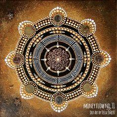 abstract dot art painting MONEY FLOW NO11 Tessa Smits #mandala #gold #dots #art #painting #dotart #acrylic #money #coins
