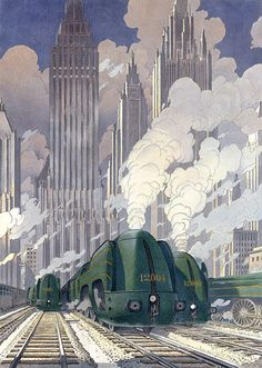 Art Deco Poster by Francois Schuiten Retro Poster, Art Deco Posters, Vintage Travel Posters, Art Deco Illustration, Retro Futuristic, Futuristic Architecture, Bungalow Haus Design, Arte Steampunk, Train Posters