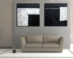 Set of 2 Black White Grey Original Square Abstract by EditVorosArt