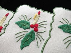 CHRISTMAS CANDLE, HOLLY Vintage Madeira Hand Embroidery 8 Linen Cocktail Napkins Christmas Candle, Cocktail Napkins, Table Linens, Hand Embroidery, Cocktails, Textiles, Candles, Crafts, Vintage