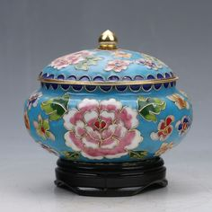 DELICATE CHINESE CLOISONNE HANDWORK SUBSHRUBBY PEONY FLOWER STORAGE TANK