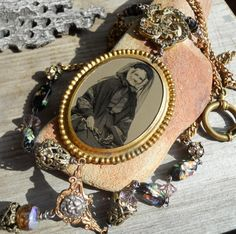 From the Ashes   Antique Victorian Tintype Found Object Assemblage Necklace by HappyMoonDesigns on Etsy