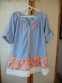 Pretty cotton tunic, Size large, fun upcycled blouse with ruffles and lace.  This comfy chambray tunic has a feminine gathered neckline. I added