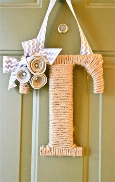 SALE: 25% off EVERYTHING with coupon code AUGUST25. Twine Monogram Wreath with Customized Handcrafted Flowers with pearls and Chevron Ribbon on Etsy, $16.99