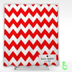 Charmant Cheap Kate Spade Red Chevron Shower Curtain
