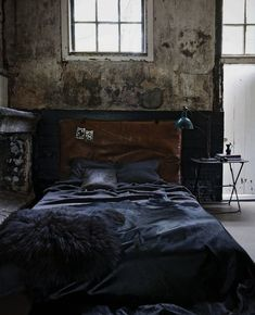 Industrial Bedroom Design, Leather Headboard, Blue Bedding, Black Accents, Interior Inspiration, Furniture, Bedroom Designs, Home Decor, Bedrooms