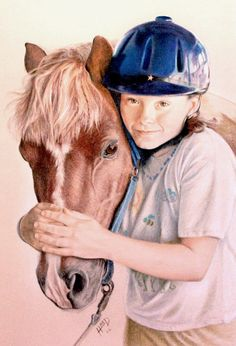 Girl With Horse, by... Greg Hand.... Colour Pencil...Commission a drawing or painting from your photo