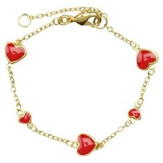 "18k Yellow Gold Plated Red Enamel Hearts Kids Bracelet 4.75"" with 1"" Extension Rich Chic Jewelry. $22.50. 4.75"" Length with 1"" Extension. Free Jewelry Pouch Included. 18k Yellow Gold Plated Brass. Red Enamel"