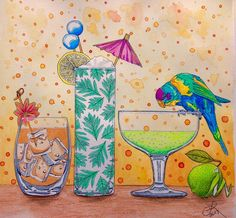 From Rainforest Escape by Jade Gedeon. I was playing with watercolor pencils, with the addition of colored pencils, a black marker and white gel pen for details. #rainforestescape #jadegedeon #tropicaldrinks #parrot #watercolor #adultcoloringbook #prismacolor #coloredpencil #coloringbook #coloring