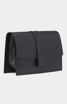 Black Leather Charlie Box Bag