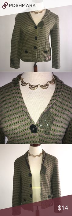 """Sigrid Olsen Womens Cardigan Sweater Blazer Flower Sigrid Olsen Womens Cardigan Large Sweater Blazer Green Pink Crochet Flowers  Great medium weight cardigan with snap buttons. There is some stretch to the cardigan. In good condition, however there is some light pilling.  Tagged large, see measurements to ensure proper fit.  Bust (buttoned): 38""""  Waist: 36""""  Length: 23.50""""  Garment measured flat, not stretched. Waist & bust sizes are measured from the front, then doubled (i.e. 18""""x 2 = 36"""")…"""