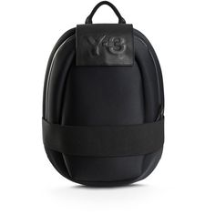 Y-3 Qasa Oval Backpack (8.600 RUB) ❤ liked on Polyvore featuring bags, backpacks, black, genuine leather backpack, day pack backpack, leather zip backpack, waterproof rucksack and leather daypack