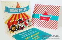 Convite Pop Up 3D no tema Circo.