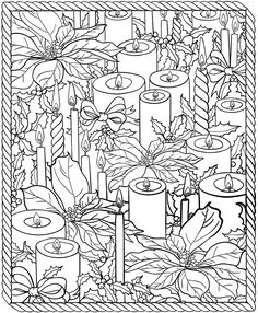 Christmas coloring page.  Candles.  Poinsettia.    Dover Publications