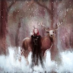 Forest Guardians by Ivy Newport #art #digitalart #procreate #ipad #crow #paintandpixels #deer #owl #forest #painting