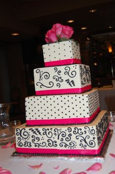 Spring Summer Black Pink White Food Indoor Reception Square Wedding Cakes Photos & Pictures - WeddingWire.com