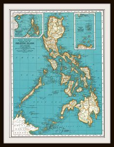 Antique Map - PHILIPPINE ISLANDS & PUERTO Rico - Buy 3 maps/Get 1 FREE by KnickofTime