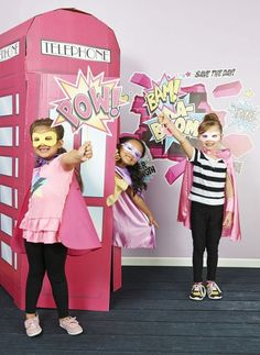 A giant phone booth is a classic superhero staple if ever there was one and this cardboard stand-up is an adorable prop for a photo booth at your daughter's supergirl birthday party celebration. Provide Superhero Girl dress-up outfits and crime-fighting accessories and encourage your supergirl and her friends to create masked alter-egos. as a fun party activity.