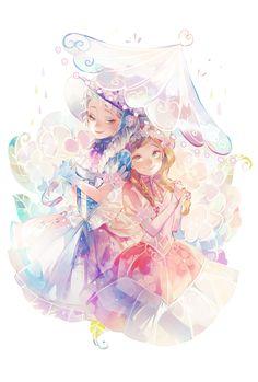 Rainy day - Anna and Elsa fanart