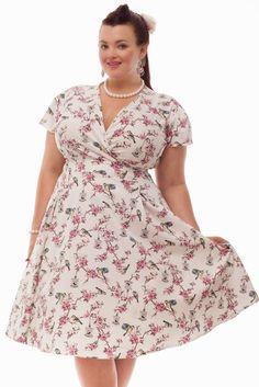 Curvy Wordy: Lady V London Estella Dress: Cream Birdcage Print and Red Wine Polka Dot Print