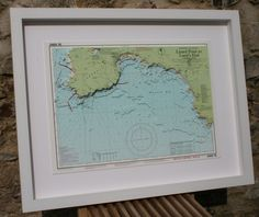 Hand cut 3D nautical relief model of Lands End to Lizard Point Cornwall