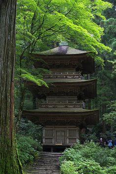 Three-story pagoda - Kozen-ji Temple, Komagane, Nagano, Japan