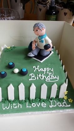 60th Birthday Ideas For Dad >> Lawn bowls themed 70th birthday cake 12-inch square | My cakes | Pinterest | Squares, 70th ...