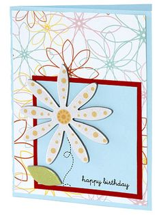 Use Shimmering Chipboard to Dress Up Cards  Design by Michelle Rubin  Michelle used glossy chipboard shapes to give this floral birthday card a touch of shine and to complement the floral outlines printed on the patterned-paper background. Use liquid, dot, or foam adhesive to securely attach chipboard shapes.