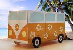 Volkswagen Van Gift Box Papercraft - by Floor Van Der Doelen     ==    Nice easy-to-build Volkswagen Van Gift Box Papercrafts for kids, created by Dutch website Floor Van Der Doelen.