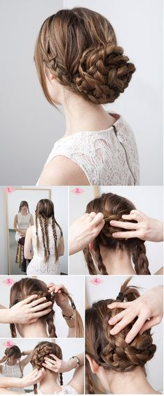 Fancy Braided Updo Hairstyle for Thick Hair