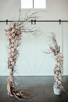 dusty rose wedding rustic arch with roses and branches ivy road photography Dusty rose is becoming the wedding trend in This pink tone is a perfect color. Here are some chic dusty rose wedding ideas! Whimsical Wedding, Floral Wedding, Diy Wedding, Wedding Colors, Rustic Wedding, Wedding Flowers, Green Wedding, Wedding Shoes, Wedding Ideas