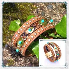 "Western BOHO Leather Bracelet w/ Turquoise BOHO Western Embellished Leather and Stones Magnetic Closure Bracelet                         ✨simulated leather and snakeskin with gold alloy metal disks, turquoise beads and rhinestones                                                              ✨love this bracelet! - great look for price! ✨measures 7"" x 1 1/8""                                            ✨bought as retail for PM, but vendor did not tag Just Be by melaniekaren Jewelry Bracelets"