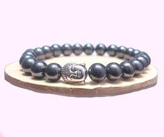 Hematite Bracelet, Black Bracelet, Buddha Bracelet,  Men Bracelet, Yoga, Handmade Bracelet, Natural Stones Bracelet, Aries, Aquarius de ArtGemStones en Etsy