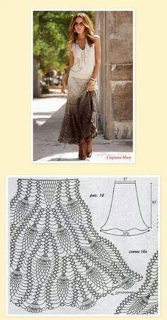 Crochet Skirt crochet maxi skirt with pattern: - Crochet Skirt Pattern, Crochet Skirts, Black Crochet Dress, Crochet Clothes, Crochet Lace, Crochet Stitches, Crochet Patterns, Tutorial Crochet, Skirt Patterns