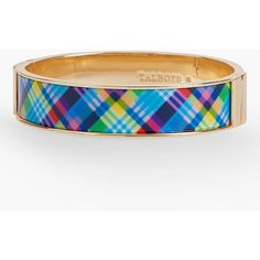 Talbots Women's Plaid Enamel Hinged Bangle ($35) ❤ liked on Polyvore featuring jewelry, bracelets, hinged cuff bracelet, hinged bracelet, cuff bangle, talbots and enamel jewelry