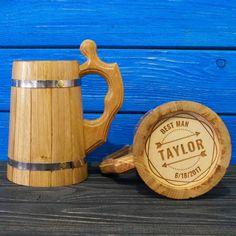 Personalized Groomsman Wooden Beer Mug, Wedding Gift Beer Mug, Handmade Wooden Mug