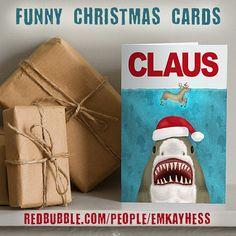 'Funny Christmas Santa Claus Shark Reindeer Humor' Greeting Card by emkayhess Funny Christmas Cards, Christmas Hat, Christmas Humor, Holiday Puns, Holiday Cards, Whimsical Christmas, Xmas Holidays, Kraft Envelopes, Sharks