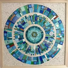 Title: Earth-scape II Artist: Siobhan Allen Size: 48cm x 48cm Framed: Yes and comes with hooks attached. A handmade mosaic measuring 48cm x 48cm framed in an ash wood frame. The materials used in the mosaic are stained glass, glazed ceramic pieces, un-glazed ceramic tiles, beads, glass tiles, shell, smalti and turquoise. This piece is un-grouted. For international buyers please contact me for individual shipping costs.