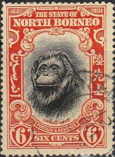 North Borneo 1931 black and orange Postage Stamp. North Borneo Postage Stamps from Kayatana Ltd. Old Stamps, Rare Stamps, Vintage Stamps, Timor Oriental, Stamp Dealers, Postage Stamp Art, Illustration, Design Graphique, Tampons
